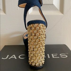Jacobies Shoes - Denim and Gold Platforms